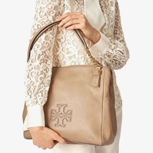 NWT Tory Burch Harper Pebbled Leather Tote Camel